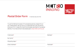 Marvelous Film Processing Postal Order Form