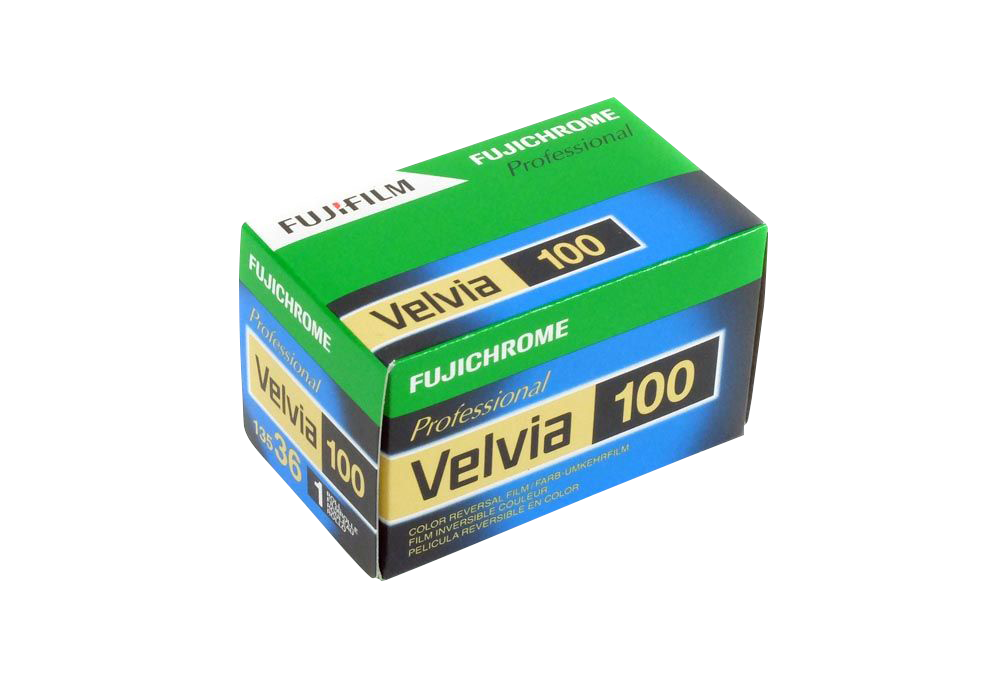<h5>Fujichrome Velvia 100</h5> Professional-quality, medium-speed, daylight-type, color reversal film with ultrafine grain and ultrahigh color saturation through the incorporation of new-generation cyan, magenta and yellow couplers. Suited especially to scenery and nature photography as well as other subjects that require precisely modulated vibrant color reproduction and high image quality. Provides color image stability equal to that of RVP 100F and can be push-processed up to +1 stop with excellent results and little photographic variation.<br> Available formats: 35mm, 120 and 5x4