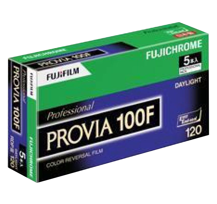<h5>Fujichrome Provia 100F</h5> Professional-quality, medium-speed, daylight-type color reversal film with ultrafine grain, designed to provide medium color saturation and contrast. Suited to a wide range of applications, such as product, landscape, nature and fashion photography as well as portraiture. Suitable for all types of subject matter, along with minimal variation in performance even in long exposures and the ability to be push-processed up to +2 stops with excellent results.<br> Available formats: 35mm, 120 and 5x4