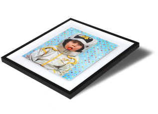 Floating Box Frame - This is a stylish take on the box frame, with your print mounted inside the box, rather than fitted edge to edge. Your print is mounted to 2mm Aluminium to create a sleek borderless surround for your print. There is a gap between the work and the moulding creating a 'floating' effect.