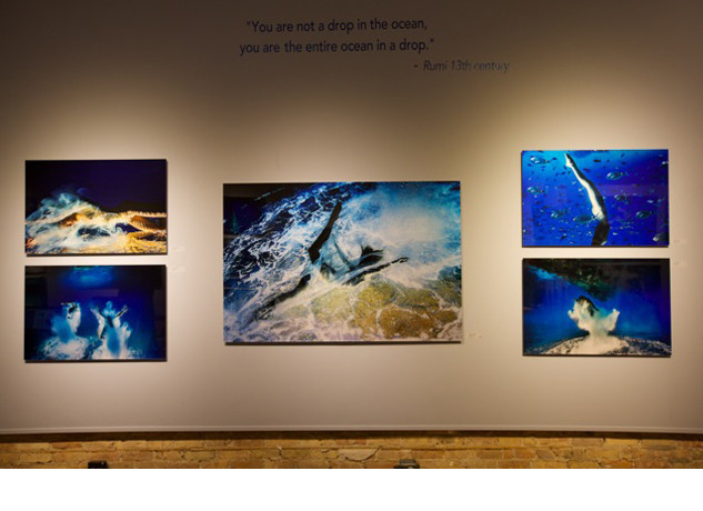 "Agua Nacida,"" Spanish for ""water born"" is a unique collection of large-scale images by renowned fashion and beauty photographer Hugh Arnold.  The exhibition at the Hilton
