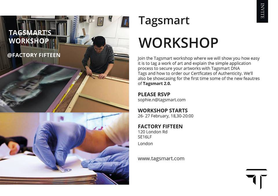 We're delighted to be collaborating with the exceptional Tagsmart team for their upcoming digital-tagging workshop at Factory Fifteen. This is a unique opportunity to learn more about the World's only integrated artwork provenance solution, so don't miss out! The events will be spread over a two evenings 26th and 27th of February with Metro Imaging's Creative Director Steve Macleod […]