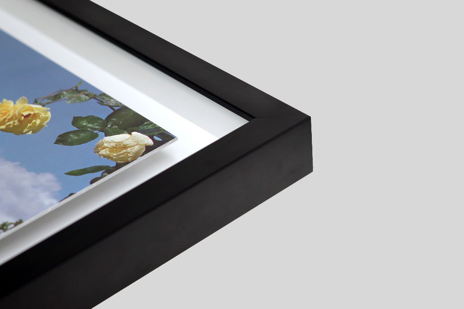 Floating Box Frame - This is a stylish take on the box frame, with your print mounted inside the box, rather than fitted edge to edge. Your print is mounted to 2mm Aluminium or Dibond® to create a sleek borderless surround for your print. There is a gap between the work and the moulding creating a 'floating' effect.